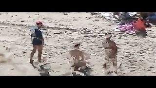 Voyeur On Public Beach. Group Hook-up  Before Spectators