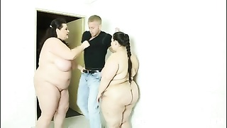 BBW Three-way Hook-up  In The Public Shower With BDSM Props