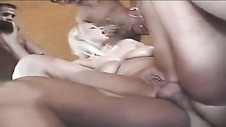 Free Porn - Big-boobed Blondie In Warm Gangbang Action